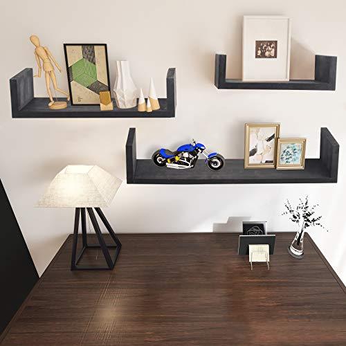 AUFHELLEN Wandregal aus Holz 3er Set Schwarz Schweberegal in U-Form für Foto-, Bilderramen oder Bücher in Wohn-, Schlaf-, oder Kinderzimmer Deco als Geschenk für Weihnachten oder Geburstag (Schwarz)