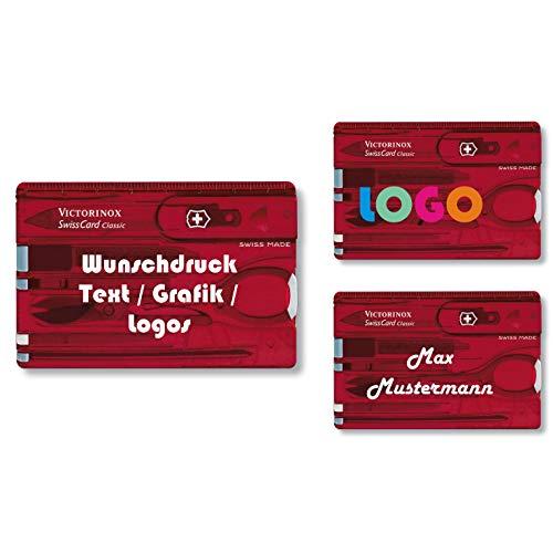 Victorinox Swiss Card Classic mit Wunschdruck I Geschenk für Männer I Geschenke zum Geburtstag I Schweizer Taschenmesser personalisiert 10 Funktionen (rot transparent)