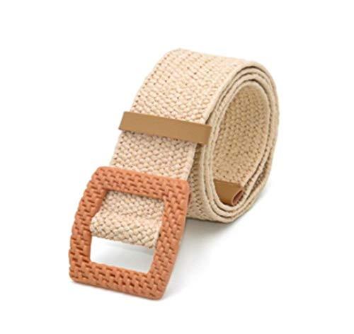 SUNKAK Geflochtene Gürtel Weibliche Gürtel Rundholz Glatte Buckle Gefälschte Straw Breitriemen for Frauen (Color : 18)