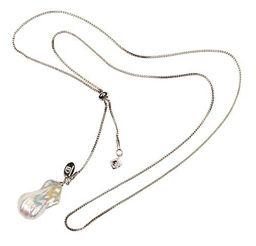 Célia von Barchewitz Perlenkette Halskette Damen Y Kette Silber Edel-Stahlkette mit Anhänger Barock Süßwasserperlen große barocke Perle Weiß Zirkonia Stein Kurz Lang Verstellbar Geschenk Muttertag