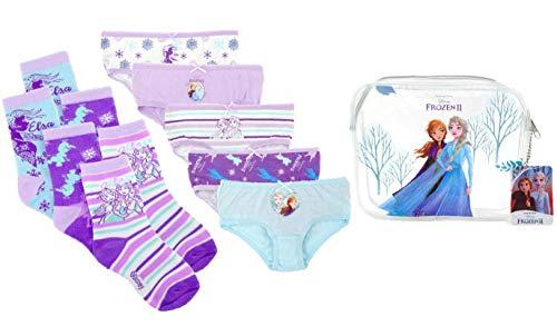 Disney Frozen 2 Schlüpfer und Socken Set für Mädchen, Multipack von 5 Schlüpfer und 3 Socken, 100% Baumwolle, Kleinkind Höschen, Kinder Unterwäsche, 4 Jahre