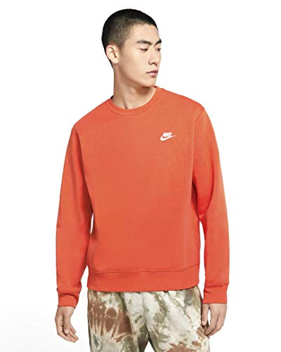 Nike Sportswear Club Fleece Crew BV2662-837 Electro Orange/White Electro Orange/White M