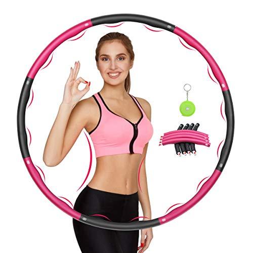 Awroutdoor Hula Hoop Fitness Desmontable, Professional Hula Hoop Adultos Fitness, 8 Secciones Ancho Ajustable (28-37in), Aro de Fitness con Cinta Métrica