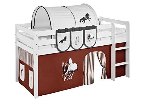 Lilokids Vorhang Pferde Braun Beige - für Hochbett, Spielbett und Etagenbett