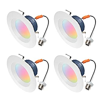 Cree Lighting Connected Max Smart LED 6 inch Downlight Tunable White + Color Changing Works with Alexa and Google Home No Hub Required Bluetooth + WiFi 4pk