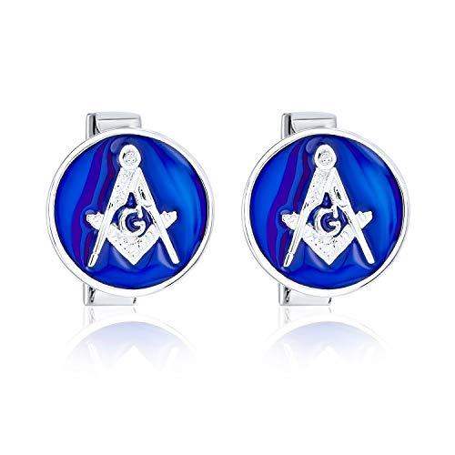 Bling Jewelry Compas Maçonnique Franc-Maçonnerie Symbole Cercle Rond Manchette Homme Deux Tons Bleu Acier Inoxydable Ton Argenté
