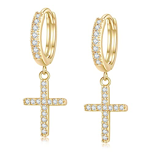 EVER FAITH Tiny Huggie Cross Earrings White CZ Delicate Cross Dangle Hoop Earrings Minimal Jewelry for Women, Girls Gold-Tone
