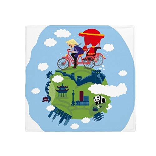 DIYthinker Chinois The Great Wall Art antidérapant Tapis de Sol pour Animal Domestique Porte de Cuisine de Maison carré 80 cm Cadeau