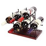 J JACKCUBE DESIGN Metal Wine Rack Tabletop, Stackable Countertop Wine Bottles Freestanding Holder with Wood Base for Cabinet, Bar, Wine Cellar, Home Décor & Kitchen (6 Wine Bottles)- MK711A