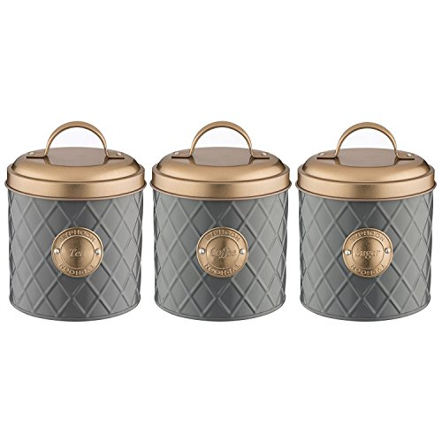 Typhoon 1401.655 1401.656 1401.657 Grey Stainless Steel Tea Coffee Sugar Canister