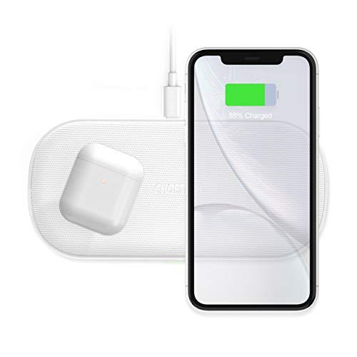 Dual Wireless Charger,CHOETECH 5 Spulen Qi Schnellladegerät Kabelloses Ladegerät,2 Handys gleichzeitig Aufladen Kompatibel mit AirPods 2,iPhone 11/11Pro/X/XS Max/XR/8,Galaxy S10/Note 10 10+ 9/S9/S8