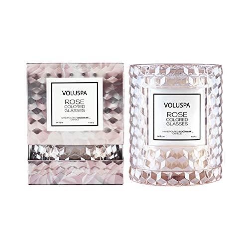 Volsupa rosafarbene Kerze mit Icon-Glocke aus Glas, strukturierter Glaskerzenhalter, 250 ml (8,5 Unzen)