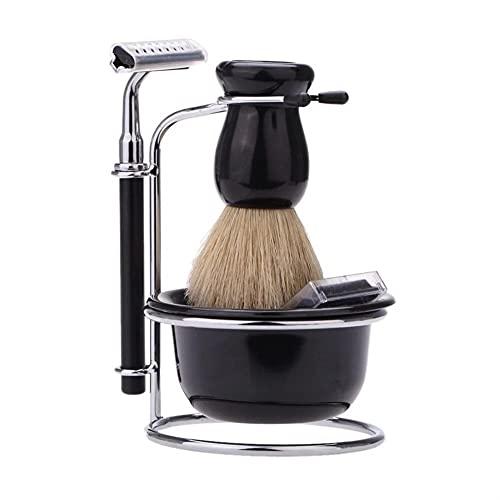GOUDAN-QIU Kit de afeitado de afeitado de seguridad de lujo for hombres,set de afeitado y astuto for hombre,cepillo de pelo de tejón,crema de jabón de afeitado,soporte,taza de acero inoxidable taza,ho