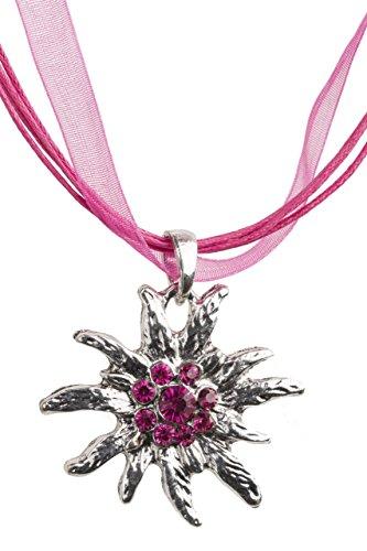 Trachtenkette Edelweiss Trachtenschmuck - Trachten Kette mit feinem Strass in div. Farben - Halskette für Dirndl und Lederhosen (Fuchsia)
