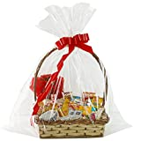 Extra Large Cellophane Bags,35x47 Inch Big Clear Basket Bags 10PCS Jumbo Cellophane/Cello Wrap for Gift...