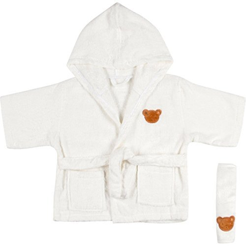 Soft Absorbent Bamboo Hooded Baby Bathrobe and Washcloth for Girls and Boys   Use After Bath, Swimming or Cold Winter Nights   Organic and Hypoallergenic   Fits Kids 9 to 18 Months