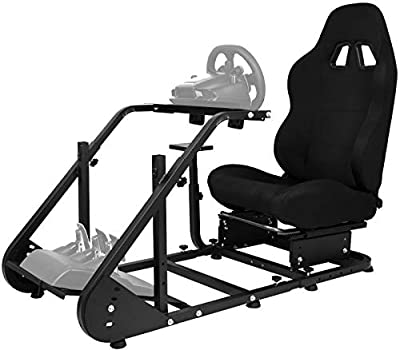 Minneer Racing Steering Simulator Cockpit Black with TV Bracket Mounting Holes Racing Wheel Stand/Fits Logitech G25, G27, G29/ Compatible with Xbox One, Playstation, PC Platforms with Capacity 220LBS
