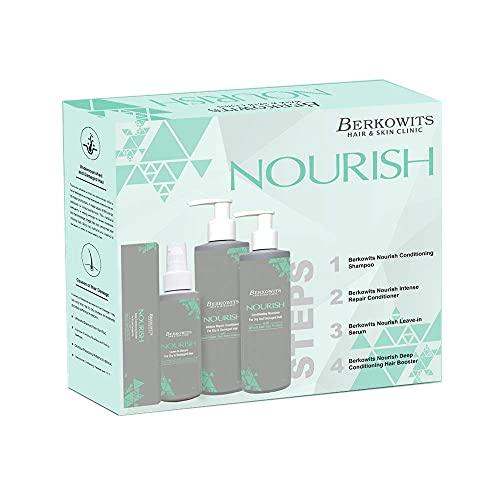 Glamorous Hub Berkowits Hair & Skin Clinics Kit esencial para cabello encrespado: champú, acondicionador, suero para el cabello, potenciador del cabello