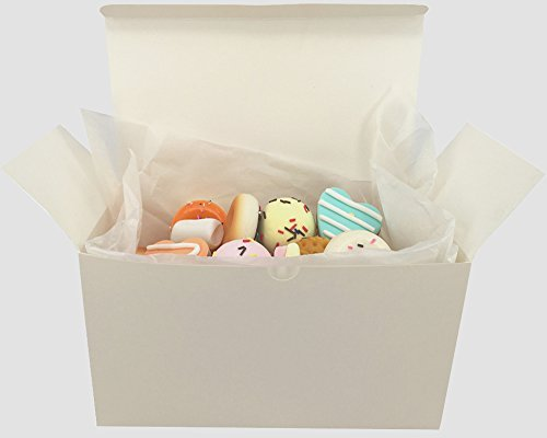 Chilly White Gift Boxes,Treat Boxes, Cake, Cookies, Goodies, Candy and Handmade Bath Bombs Shower Soaps, Scarf, Clothes Gift Boxes with Stickers and 10 Papers, Set of 10 (9 x 4.6 x 4.6 Inch)
