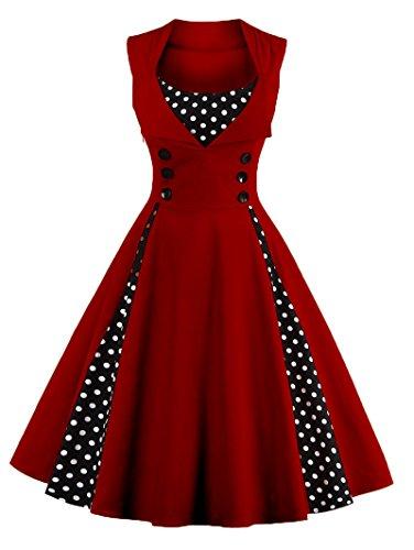 """WSLCN vestido feminino estilo anos 50, vintage, retrô, de algodão, evasê, com bolinhas, gola V, vestido de coquetel para noite e festa com botões, C, Bust 40.6"""" (Asian 2XL)"""