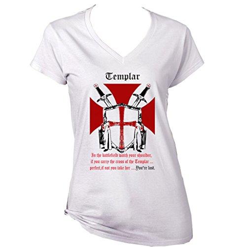 teesquare1st Knight Templar IN The Battlefield 1 Camiseta para Mujer de Algodon Size Small