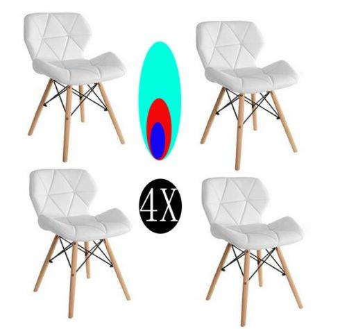 Comfortableplus-Pack de 4 sillas Inspiradas en Cecilia Millmead Silla de Comedor Blanca de Estilo Retro Silla de Comedor de Estilo Mariposa (mas para ninos)
