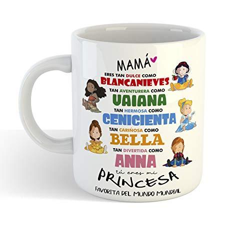 Taza Princesas Disney 2 DIA DE LA MADRE - Taza cerámica 350ml - Frase Divertida Regalos Originales para mama dia de la madre o cumpleaños (Blanco)