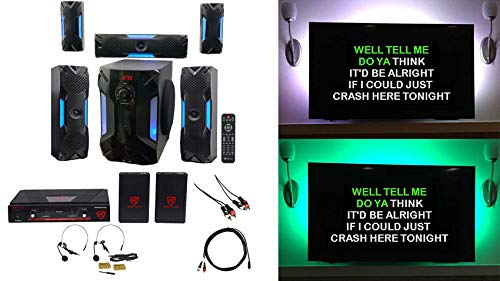 "Rockville Bluetooth Home Theater Karaoke Machine System w/8"" Sub + Headset Mics"
