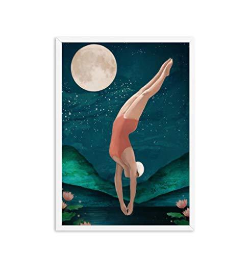 Bricolaje Colores Números Pintado Digital Pintura Lienzo Painting Kits Surrealismo Galaxy Espacio Luna Noche Cielo Azul Tierra Arte Decoración Regalo-50X70cm