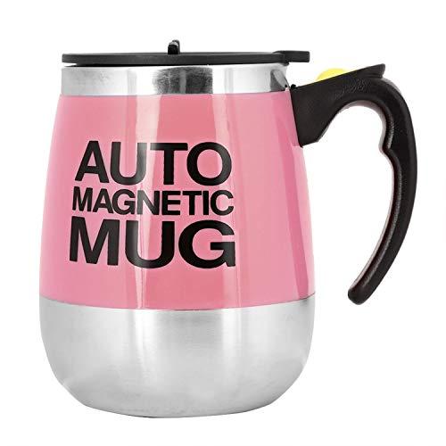 Fdit Magnetischer mischender Becher Selbst rührende Kaffeetasse Edelstahl Selbstmagnetbecher für Kaffee Tee heiße Schokoladen Milch Kakao Protein (Pink)