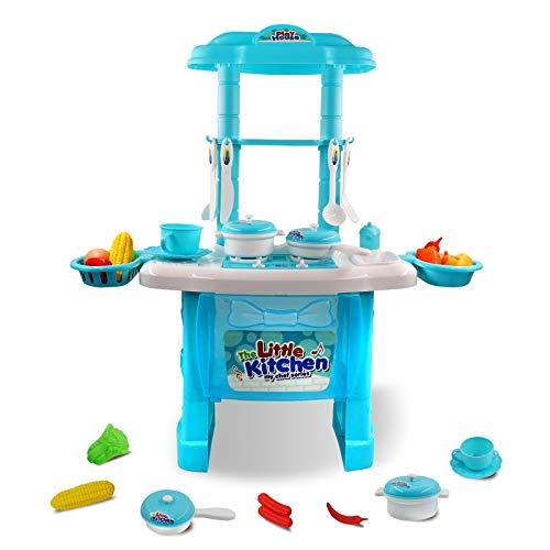 Hyselene Küche Spielzeug, Kinder Kochen Lebensmittel Spielset für mädchen 3 Jahre, Kinder küchen Blau mit Speicher Kochfeld, Geschirr, Kochgeschirr, Obst, Gemüse