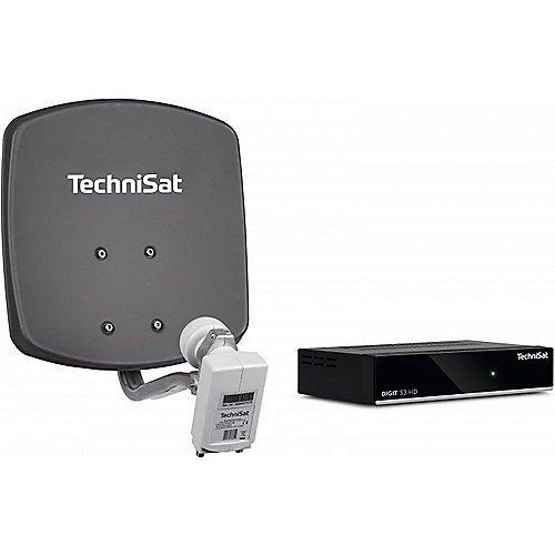 TechniSat DIGIDISH 33 – Satelliten-Schüssel Komplettset mit HD Receiver (33 cm Sat-Anlage mit Wandhalterung, Universal Twin-LNB für bis zu 2 Teilnehmer, 10 m Kabel und Sat-Receiver) grau