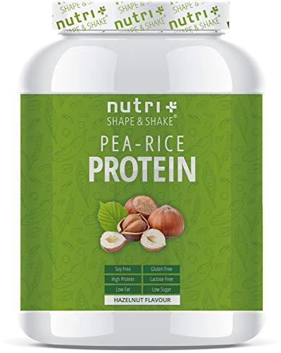 Veganistisch Proteïne Eiwitpoeder Hazelnut - Nutri-Plus 1kg Vegan Pea Rice Protein Powder - Erwten & rijsteiwitpoeder zonder soja, gluten, lactose