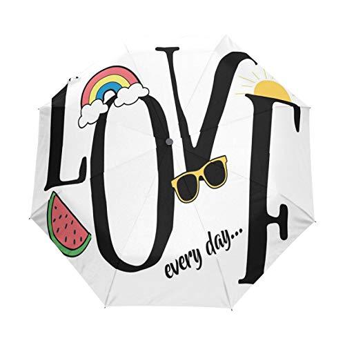 JinDoDo paraguas plegable automático con letra de amor arco iris sandía patrón lluvia paraguas a prueba de viento protector solar viaje para mujeres hombres niñas niños