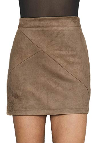 Simplee Apparel Women's High Waist Faux Suede Mini Short Bodycon Skirt Camel,8/10 (L)