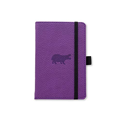 Dingbats Wildlife A6 Pocket Hardcover Notizbuch - PU-Leder, Mikroperforiert 100gsm Creme Seiten, Innentasche, Gummiband, Stifthalter, Lesezeichen (Kariert, lila Nilpferd)