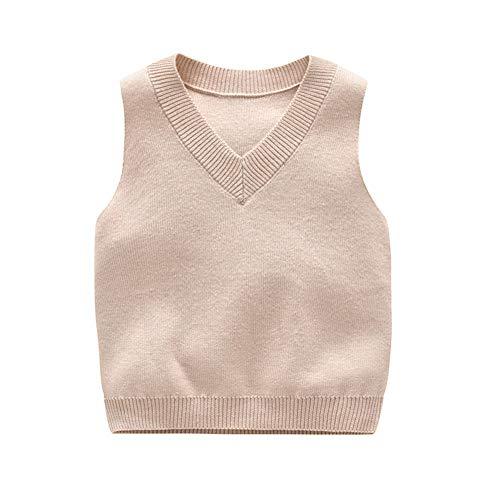 DCUTERQ niño bebé niños Color sólido Cuello en V Uniforme Escolar suéter Chaleco de Punto sin Mangas Chaleco Amarillento 12-18 Meses