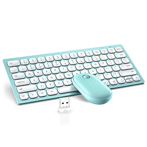 Wireless Keyboard and Mouse, WisFox 2.4GHz Compact Keyboard Mouse Combo, Small Quiet USB Laptop Keyboard Portable Mini Wireless Keyboard for Computer Window PC Notebook (Light Green)