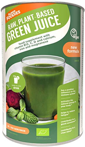 Superfoodies Extra Strength Organic Green Juice Powder - 26+ Superfoods, Vitamin B12, C, K, Iron & Probiotics – Your Daily Vitamin Dose, Supports Immunity, Natural Energy & Tiredness (500G)