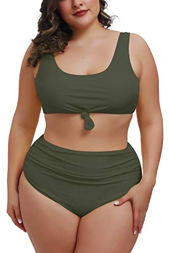 Kisscynest Women's Plus Size Racerback Swimsuits Tummy Control High Waist Bikini Bathing Suits Swimwear Army Green 4XL