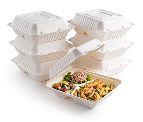 brheez Bagasse Take-Out Natural Disposable Clamshell Lid Containers, Biodegradable, Compostable & Chemical Free - Pack of 50 (9'x9' - 3 Compartment)