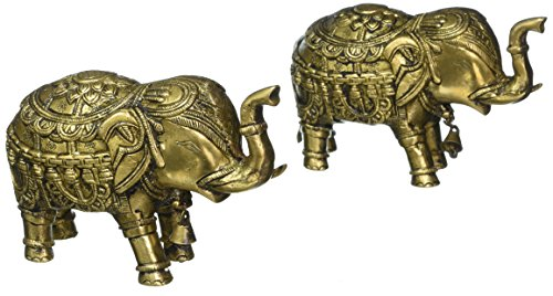 Exotic India Re54 Temple Elephant Paire avec Cloches et Dos Agrégations (extrêmement Augure Selon Vastu)