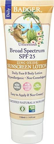 Badger Balm Spf25 Sunscreen Lotion - Unscented 4oz, 4 Ounce by Badger