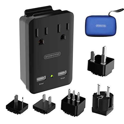 World Travel Adapter Kit, NTONPOWER 2000W Universal Power Adapter, 2 AC Outlets 2 USB Ports, Cruise Power Strip with Portable Carrying Case,Plug for Europe, UK, China, Australia, Italy, Japan - Black