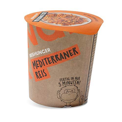 Reishunger Mediterraner Reis (6x80g) Leckere Mahlzeit in 5 Minuten - Fertiggericht im Becher - 100% Natürlich, ohne Zusätze, Vegan, Glutenfrei, 5 Sorten, verschiedene Gebindegrößen