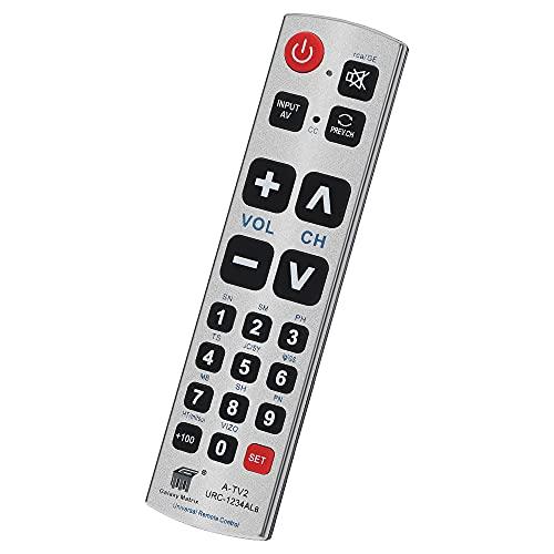 Seniors Elderly Big Button Universal Remote Control UNOCAR for Extra Large Jumbo Giant Remote, Simple Easy Basic Control and LG Samsung Sony JVC Toshiba Sharp Panasonic Technika Hitachi Polaroid TVs