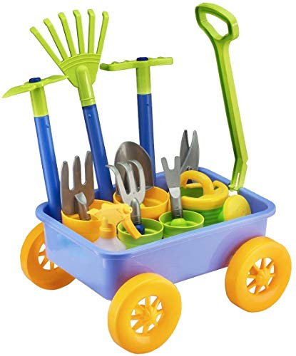 deAO Pull along Kids Wagon Wheelbarrow and Gardening Tools Play Set...