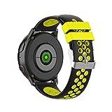 KINOEHOO Correas para relojes Compatible con Samsung active/S2 classic, Compatible con Garmin vivoactive 3/vivomove HR 20mm Pulseras de repuesto relojesde siliCompatible cona.(Negro + amarillo)