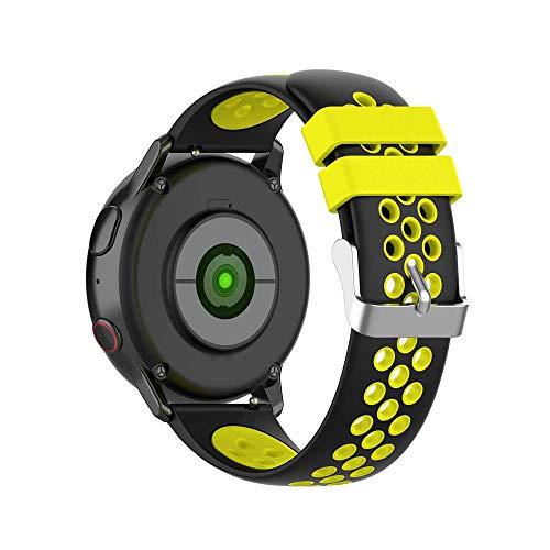 KINOEHOO Cinturino Compatibile con Samsung active/S2 classic,con Garmin vivoactive 3/vivomove HR Cinturini di Ricambio in Silicone.(Nero + giallo)