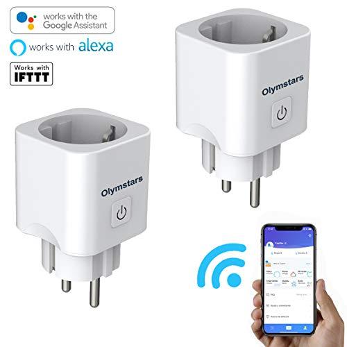 Enchufe Inteligente, Enchufe WiFi Olymstars con Control Remoto/Mando de Voz/Temporizador, LAN Modo sin Internet, sin necesidad de concentrador, Enchufe funciona con Amazon Alexa Google Home IFTTT (2)